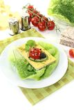 Crispbread with cheese, cucumber and ladybug Royalty Free Stock Photo