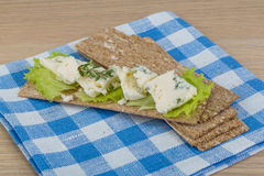 Crispbread with cheese Royalty Free Stock Images