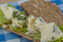 Crispbread with cheese Stock Images