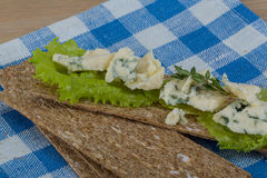 Crispbread with cheese Royalty Free Stock Image