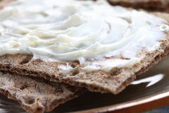 Crispbread with cheese spread Stock Image