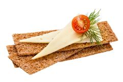 Crispbread with cheese, tomato and dill Stock Photos