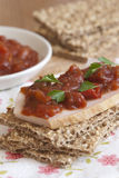 Crispbread with chicken and chutney Stock Photo