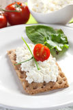 Crispbread with cottage cheese Stock Images