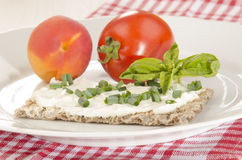 Crispbread with cottage cheese Stock Photography