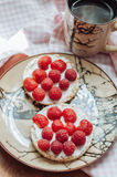 Crispbread with cream cheese and berries. On plate Stock Photo