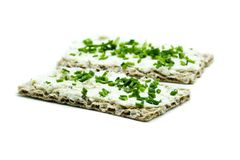 Crispbread cream cheese isolated on white background stock images