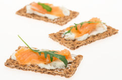 Crispbread with cream cheese and smoked salmon Stock Photography