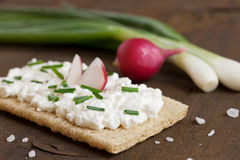 Crispbread with cream cheese Royalty Free Stock Images
