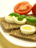 Crispbread with egg Royalty Free Stock Photos
