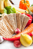 Crispbread with fresh vegetables Royalty Free Stock Images