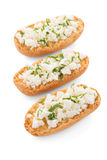 Crispbread with fromage. Isolated on white background Royalty Free Stock Photo