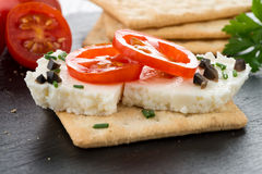 Crispbread with fromage Stock Photography