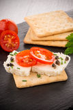 Crispbread with fromage Royalty Free Stock Images