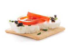 Crispbread with fromage Stock Photos