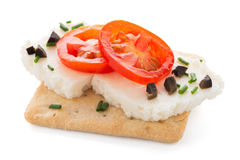 Crispbread with fromage Royalty Free Stock Photography