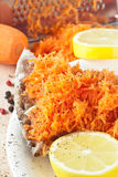 Crispbread & Grated Carrot Royalty Free Stock Images
