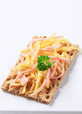 Crispbread with ham and cheese Royalty Free Stock Photo