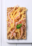 Crispbread with ham and cheese Stock Image
