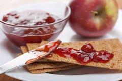 Crispbread with jam Royalty Free Stock Photo
