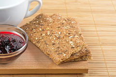 Crispbread and jam. Royalty Free Stock Photography