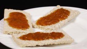 Crispbread with jam stock video