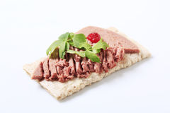 Crispbread and liver pate Stock Images