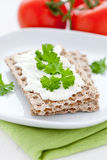 Crispbread with quark and parsley Stock Photos