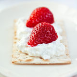 Crispbread with quark and strawberries Stock Image