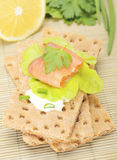 Crispbread with salmon Royalty Free Stock Photo