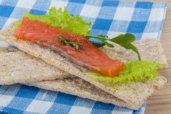 Crispbread with salmon Royalty Free Stock Photography