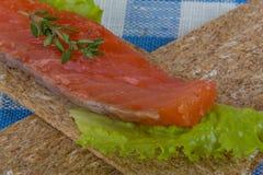 Crispbread with salmon Stock Photos