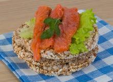 Crispbread with salmon Stock Image
