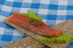 Crispbread with salmon Royalty Free Stock Photos