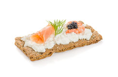 Crispbread with salmon and prawn Royalty Free Stock Photos