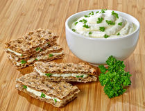Crispbread sandwiches Stock Images