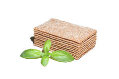 Crispbread slices with basil Stock Image