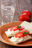 Crispbread  with soft cheese Royalty Free Stock Images