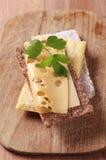 Crispbread and Swiss cheese Stock Photo