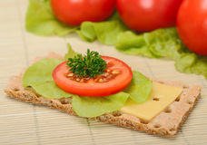 Crispbread with tomato and cheese Royalty Free Stock Photo