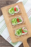 Crispbread with tomatoes, radish, cucumber and arugula Stock Photos