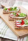 Crispbread with tomatoes, radish, cucumber and arugula Stock Photography