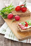 Crispbread with tomatoes, radish, cucumber and arugula. Crispbread with cream and fresh tomatoes, radish, cucumber and arugula Stock Photography