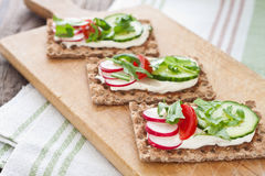 Crispbread with tomatoes, radish, cucumber and arugula Royalty Free Stock Images