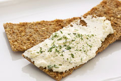 Free Crispbread With Cheese Spread Stock Photography - 11280362
