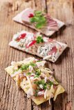 Crispbread With Various Toppings Royalty Free Stock Image