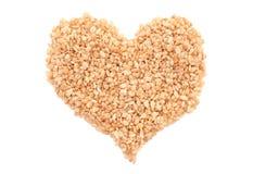 Crisped rice breakfast cereal heart Stock Photography