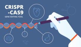 Crispr-Konzept DNA Cas9 und Gen, die Biotechnologie ausführen Vektorhintergrund der Änderung des menschlichen Genoms medizinische vektor abbildung