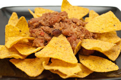 Crisps with chilli bean spicy sauce Royalty Free Stock Image