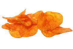 Crisps. Potato chips isolated on white. Royalty Free Stock Photo